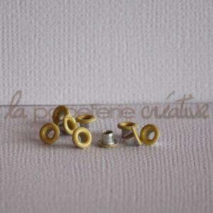 Oeillets mini 1/8″ (trou 3mm) – Lot de 4 – Jaune pâle