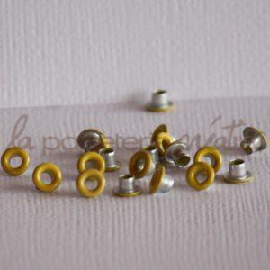 Oeillets mini 1/8″ (trou 3mm) – Lot de 4 – Jaune citron