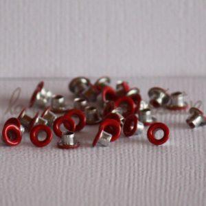 Oeillets mini 1/8″ (trou 3mm) – Lot de 4 – Rouge
