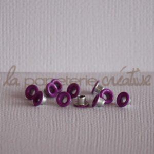 Oeillets mini 1/8″ (trou 3mm) – Lot de 4 – Améthyste