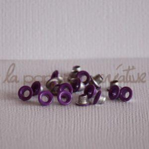 Oeillets mini 1/8″ (trou 3mm) – Lot de 4 – Pourpre