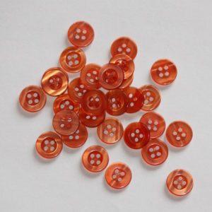 Bouton rond transparent creux 1,1cm – Lot de 2 – Orange