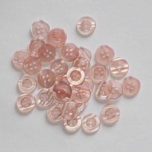 Bouton rond transparent creux 1,1cm – Lot de 2 – Rose