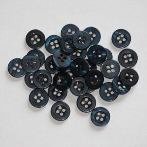 Bouton rond transparent creux 1,1cm – Lot de 2 – Bleu marine