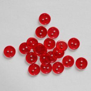 Bouton rond transparent 1,1cm – Lot de 2 – Rouge