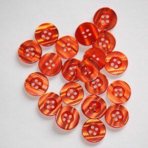 Bouton rond transparent 1,5cm – Lot de 2 – Orange