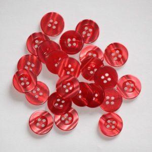 Bouton rond transparent 1,5cm – Lot de 2 – Rouge