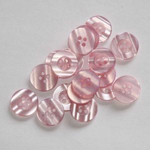 Bouton rond transparent 1,5cm – Lot de 2 – Rose