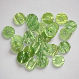 Bouton rond transparent 1,5cm – Lot de 2 – Vert