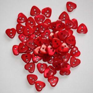 Bouton coeur 1,2cm avec une face nacre – Lot de 2 – Rouge