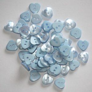 Bouton coeur 1,2cm avec une face nacre – Lot de 2 – Bleu