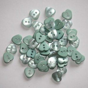 Bouton coeur 1,2cm avec une face nacre – Lot de 2 – Bleu vert