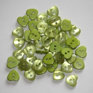 Bouton coeur 1,2cm avec une face nacre – Lot de 2 – Vert