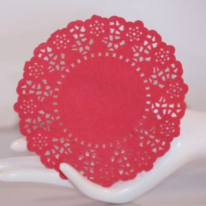 DOVECRAFT – 5 Napperons ronds Rouge